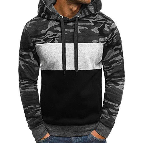 TWIFER Herren Camouflage Pullover Langarm Kapuzenpulli Sweatshirt Plus Size -