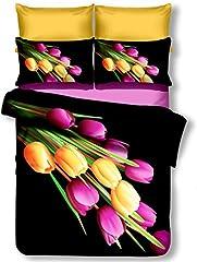 Idea Regalo - decoking Premium 00809biancheria da letto 155x 220cm con 1federa 80X 80microfibra 3d nero completo letto lenzuola fiori motivo floreale bianco bianco nero giallo Yellow viola Violet Verde Green Quentin