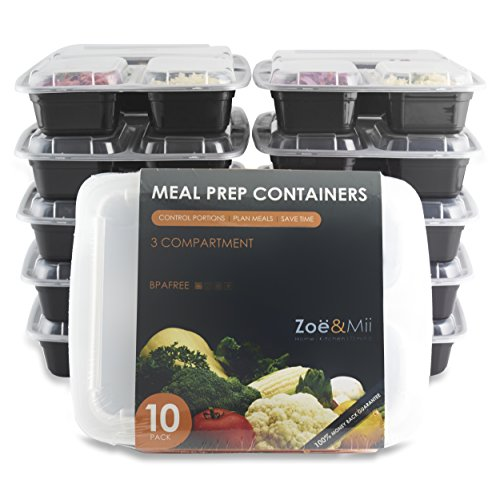 [10er Pack] DAS BESTE 3-Fach Meal Prep Container Set,Gratis (E-Book) 21Hähnchenrezepte für Meal Prep, Bento Box,Frischhaltedosen,BPA-Frei,von Zoe&Mii (Tasche Keine Kurz)