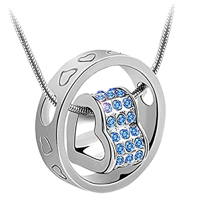 korpikus® Silver Colour Metal Jewelled Crystal Hearts Engraved Ring Necklace In Organza Gift Bag (LIGHT BLUE GEMS) - inexpensive UK light store.