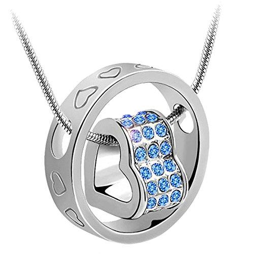 korpikus® Argento Colore metallo Jewelled Cuori di cristallo inciso collana anello nel sacchetto regalo organza (Luce Blu GEMS)