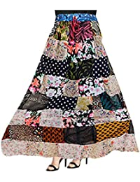 Women's Patch Work Printed Cotton Long Skirt Adjustable With Elastic Waist Band