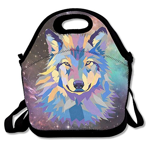 Icndpshorts Colorful Wolf Galaxyï½› Women, Men, Kids, Girls, Boys, Adults Lunch Box Bag Lunch Tote with Shoulder Strap (Minecraft Wolf Girl)