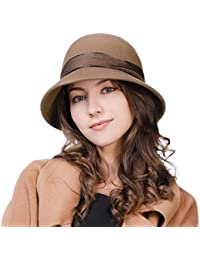 0e7c6190f15 Siggi Womens 1920s Vintage Wool Felt Cloche Bucket Bowler Hat Winter  Crushable