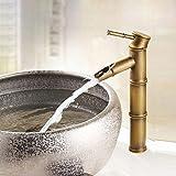 DESON Wasserhahn Antik Messing Einhebel Wasserhahn Waschbecken Wasserhähne und kalte Wasser Becken Design Armaturen Bambusrohr - FG 1043