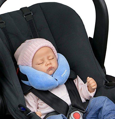 SANDINI SleepFix Baby Schlafkissen/Nackenkissen mit Stützfunktion für Auto/ Fahrrad, hellblau