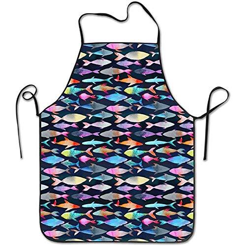 Unisex Kitchen Vintage Aprons Colorful Paintng Fish Chef Apron Cooking Apron Barbecue Vintage Aprons Carpenter Style Jeans