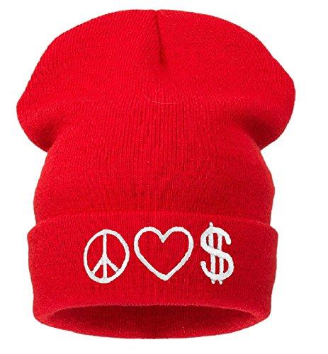 4sold - Bonnet - Homme noir Noir Taille universelle noir Peace Love Money ( red ) Taille universelle