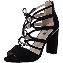 Quiz Damen Faux Suede Lace Up Block Heel Sandals Peep-Toe Pumps, Schwarz (Schwarz), 39 EU(6 UK)