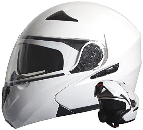 Klapphelm Integralhelm Helm Motorradhelm RALLOX 109 weiß mit Sonnenblende (S, M, L, XL) Größe M