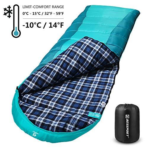 Bessport Schlafsack Flanell Baumwoll Warmer, Leichte Camping Deckenschlafsack Wasserfest Winddicht, 4-Jahreszeiten, Extrem - 10°für Erwachsene, Camping, Outdoor (Green&Blue)