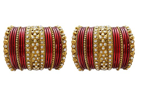 My Design Maroon Bridal Chura Wedding Bangles chuda(size-2.8)