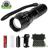 LED taktische Taschenlampe, ONSON 900 Lumen XML T6 Portable wasserdichte Outdoor-Taschenlampe mit einstellbarer Fokus und 5 Licht Modi, wiederaufladbare 18650 Lithium-Ionen-Akku und Ladegerät