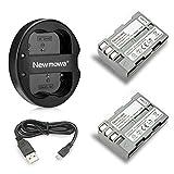Newmowa EN-EL3 Batteria (confezione da 2) e Doppio Caricatore USB per Nikon EN-EL3e e Nikon D50, D70, D70s, D80, D90, D100, D200, D300, D300S, D700