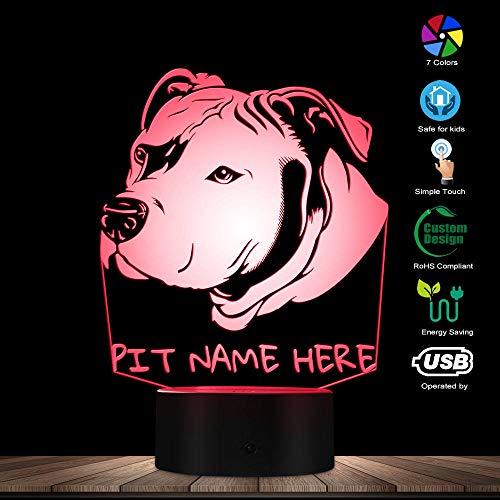 ENLAZY 3D Pitbull LED Nachtlicht Haustier Hund Kopf Porträt 3D optische Täuschung LED Lampe mit personalisierten Benutzerdefinierten Hundenamen als Geschenkidee für Jungen oder Mädchen