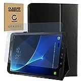 subtel® Smart Case + Panzerglas kompatibel mit Samsung Galaxy Tab A 10.1 (SM-T580 / SM-T585) Kunstleder Schutzhülle Tasche Flip Cover Case Etui schwarz