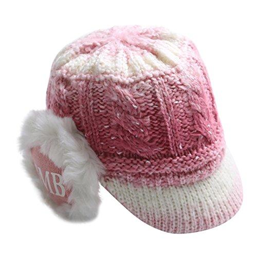 Gym Hut (TUDUZ Frauen Damen Winter Wintermütze Skimütze Gemütliche Farbverlauf Visoren Strickwolle Schirmmütze Hut Schützen Casquette Strickmütze (Weinrot))