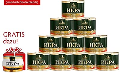 Zarendom 10 x 500 g Dosen Gorbuscha Lachskaviar Klassik + 1 Dose 250 g Gorbuscha Lachskaviar Premium GRATIS - roter Kaviar - caviar - ????