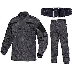 QMFIVE Combat Tactique, Camouflage Camouflage pour Hommes Combat BDU Veste Chemise et Pantalon avec Ceinture Uniforme Guerre Jeu Armée Militaire Paintball Airsoft Chasse Tir Camo