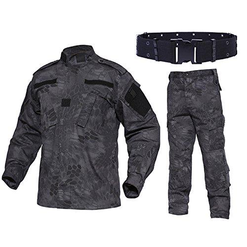QMFIVE Tactical Suit, Herren Camouflage Camo Combat BDU Jacke Shirt & Hose mit Gürtel Uniform War Spiel Army Military Paintball Airsoft Jagd Schießen Camouflage