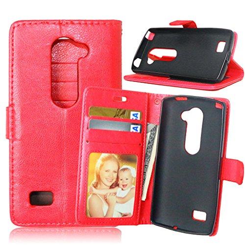 FUBAODA [Classic] Funda folio + Cable Libre para LG Leon 4G LTE C40 (H340N) (rojo)