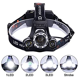 LED Headlamp, 5000 Lumens Max Bright 3T6 LED Headlight Headlamp Rechargeable Flashlight Torch LED with USB charger for Hiking Camping Riding Fishing Hunting