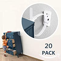 Furniture Straps, Baby Proofing Anti-Tip Furniture Anchor Straps kit, Falling Furniture Prevention Device, Safety Furniture Wall Anchors for Baby Proofing & Pet Protecting,White