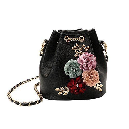 TIFIY Damen Mädchen Neu Ankunft Blumen Applikationen Kette Schulter Tasche Handtasche Löffel Tasche (Schwarz)