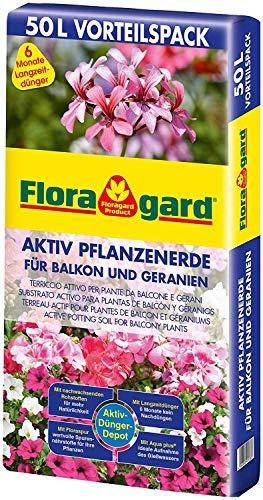 Floragard Aktiv Pflanzenerde für Balkon und Geranien - Geranienerde 50l