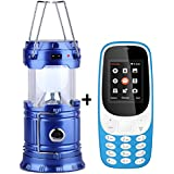I KALL K3310( Light Blue) Dual Sim 1.8 Inch Display Mobile With Solar Powered LED Rechargeable Lantern With Three Way Power Option - Solar Power Or AABatteries Or AC Power(Blue)