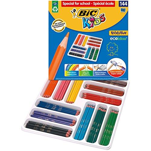BIC KIDS Buntstift EVOLUTION ECOlutions, 12 Farben sortiert, Gruppenpackung à 144 Stück
