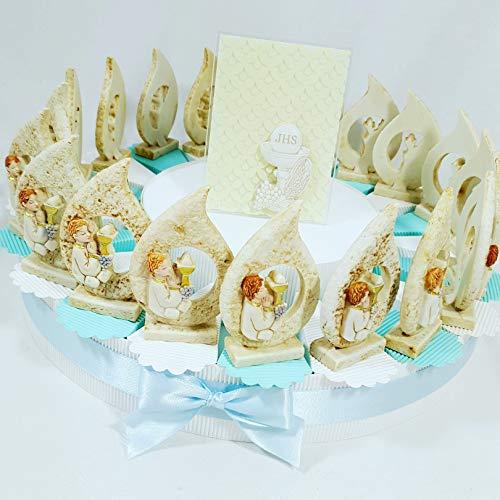 Bomboniere comunione maschio icona sacra - torta bomboniere con fette + gocce + centrale carlo pignatelli + confetti … (torta 20 fette 1 piano a)