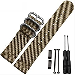 Bbring Luxury Nylon Watch Band Strap 3 Ring Lugs + Adapters For Suunto Core (Brown)