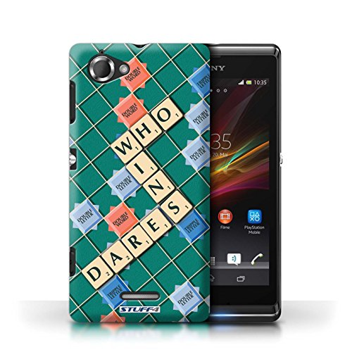 Kobalt® Imprimé Etui / Coque pour Sony Xperia L/C2105 / Jours Heureux conception / Série Mots de Scrabble Celui Qui Ose