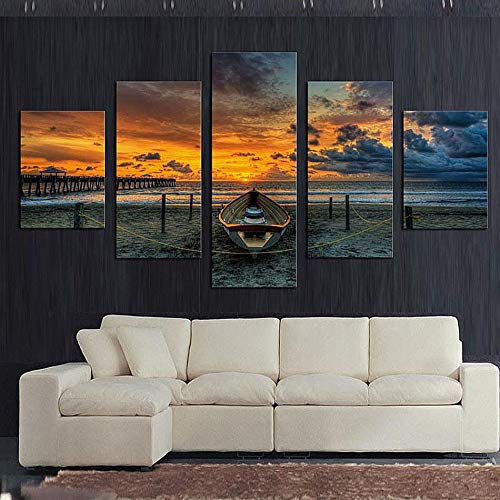 mmwin Wohnkultur Leinwand Wandkunst 5 Stücke Seelandschaft Und Boot Bilder Modulare HD Gedruckt Sunset Beach Poster Für Wohnzimmer