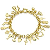 Carissima Gold 9 ct Yellow Gold 24 Charm Belcher Bracelet of Length 19 cm/7.5 inch