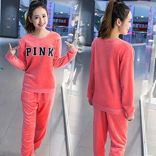 ug Pyjamas Für Frauen Winter Coral Fleece Startseite Damenbekleidung Lange Hosen Warme Mädchen Nachtwäsche Rosa Print Pyjamas Set, R Baoxin Ju Rosa, XXL ()