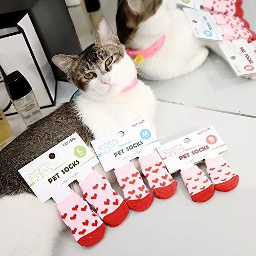BXGZXYQ Calcetines para Mascotas Calcetines para Gatos Calcetines para Cachorros Suministros para Mascotas Zapatos (Color : Rojo, Size : L)