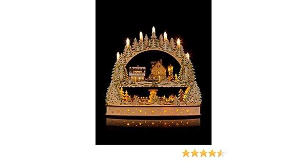 Hse24 Weihnachtsbeleuchtung.Hochwertiger Schwibbogen Holz Lichterbogen Mit Led Beleuchtung Timer Funktion Und Sich Drehender Pyramide Wunderschöne Weihnachtsbeleuchtung Und