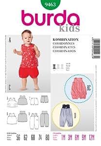Patron de couture Burda 9463 ensemble pour bébé, facile, haut, robe, culotte & Combinaison-A Partir de 12 mois