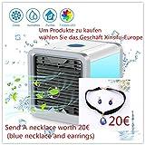 Mobiles Klimageräte Air Cooler mit Wasserkühlung Zimmer Raumentfeuchter Mini Klimaanlage ohne Abluftschlauch für Büro, Hotel, Garage, 3 Kühlstufen - 7 Stimmungslichter (Drei Generationen von Luftkühlern)