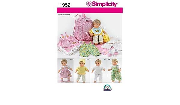 Simplicity Muster 1952 Puppe Kleidung und Zubehör Größe, eine Größe ...