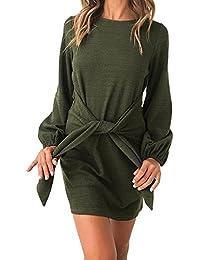 Wenyujh Damen Kleid Bodycon Midikleid Schulterfrei Schräg Schulter Langarm  Herbst Kleid Shirt Freizeit Casual 6fb9935d29
