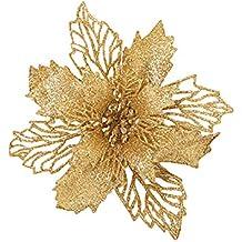 erozy - Juego de 8 Flores Huecas de Purpurina Artificiales para árbol de Navidad, Boda