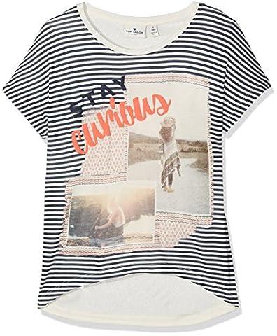 TOM TAILOR Kids Mädchen T-Shirt Photo Collage Tee with Cutouts, Beige (Soft Light Beige 8587), 152