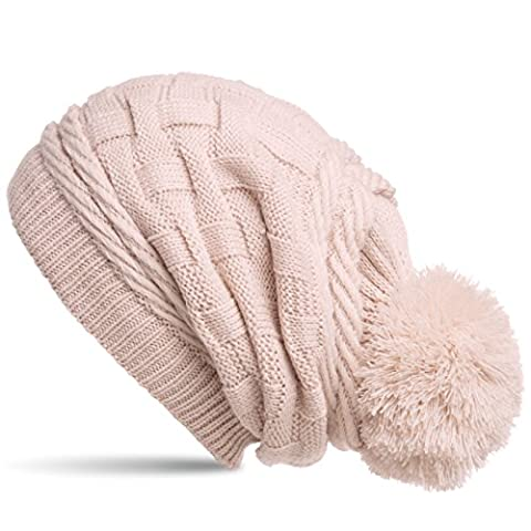 CASPAR MU130 Damen Gefütterte Strick Long Beanie mit Zopfmuster und Wollbommel, Farbe:rosa;Größe:One Size