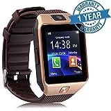 #5: Padraig Mi Redmi Note 4G Compatible Bluetooth DZ09 Smart Watch Wrist Watch Phone with Camera & SIM Card Support (Gold)