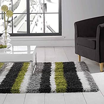 Flair Rugs Nordic Channel Shaggy Rug, Lime Green/Steel, 160 x 230 Cm