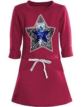 BEZLIT - Vestido - Camisa - Estrellas - Cuello redondo - Manga Larga - para niña rosa 6 Years