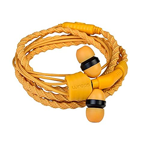 Wraps Talk (with Mic) Wristband Bracelet In-Ear Headphones (High Comfort with Locking) - Sunrise